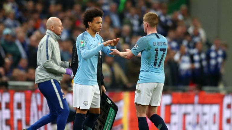 De Bruyne was subbed late in normal time by Leroy Sane