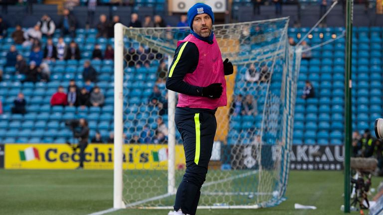 Kris Boyd warms up for Kilmarnock at Rugby Park on Sunday