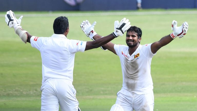 DURBAN, SOUTH AFRICA - FEBRUARY 16: Vishwa Fernando and Kusal Perera of Sri Lanka celebrates Sri Lanka win by one wicket during day 4 of the 1st Test match between South Africa and Sri Lanka at Kingsmead Stadium on February 16, 2019 in Durban, South Africa. (Photo by Lee Warren/Gallo Images)