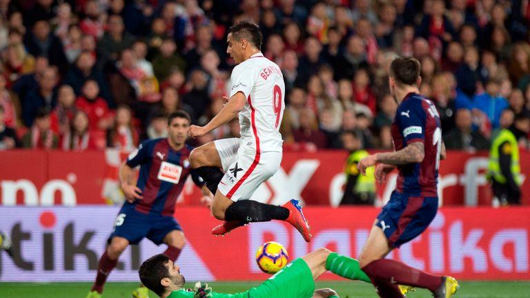 Wissam Ben Yedder (centre) sparked Sevilla's late comeback against Eibar