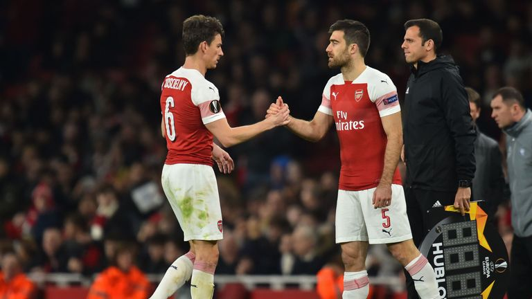 Sokratis Papastathopoulos replaced Koscielny midway through the second half at the Emirates