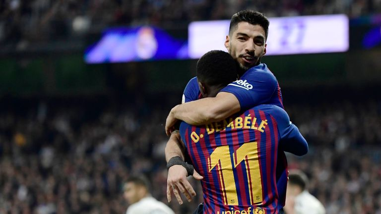 473c6c5c1c5 Luis Suarez scored twice as Barcelona beat Real Madrid to reach the Copa  del Rey final