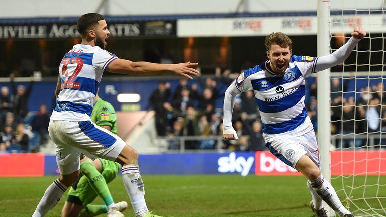 Luke Freeman celebrates scoring the winner for QPR against Leeds