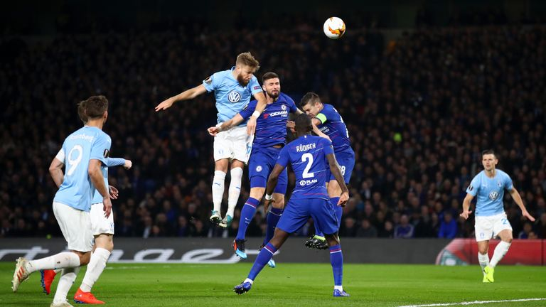 Action from Chelsea's Europa League last-32 second leg match against Malmo