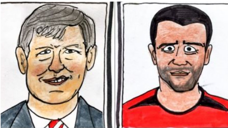 The couple's rendition of ex-Manchester United boss Alex Ferguson and former player Roy Keane