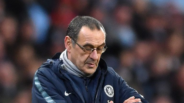Maurizio Sarri is under increasing pressure as Chelsea head coach