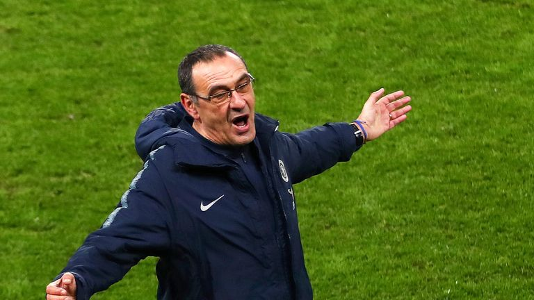 Maurizio Sarri reacts during the FA Cup, Fifth Round match between Chelsea and Manchester United at Stamford Bridge