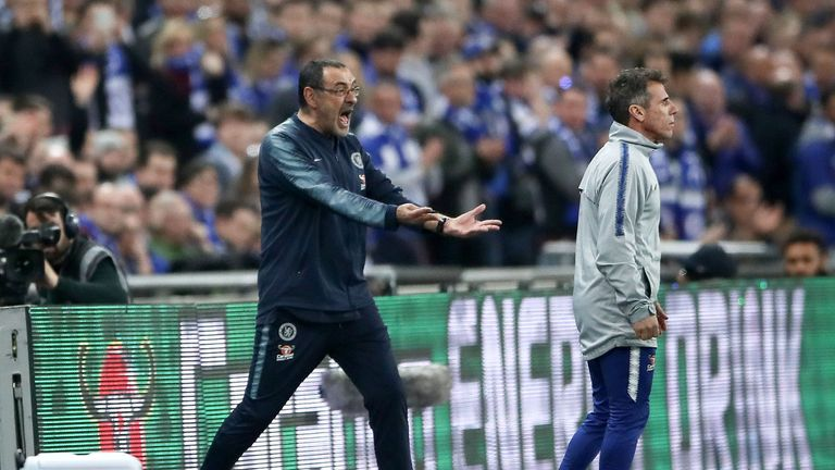 Sarri reacted angrily to Kepa's refusal to leave the pitch after his number is raised by the fourth official