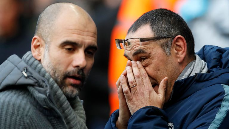 Chelsea manager Maurizio Sarri (right) and Manchester City manager Pep Guardiola ahead of kick-off
