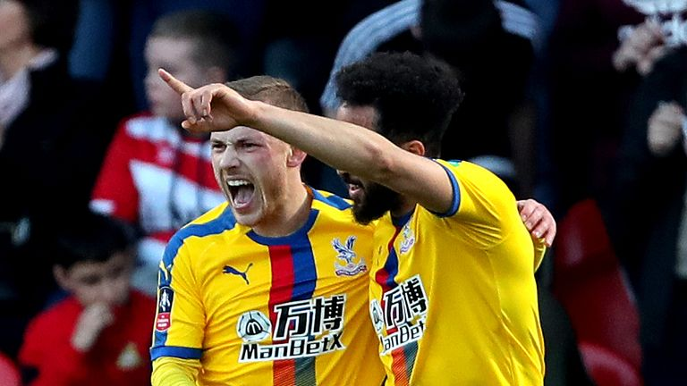 Crystal Palace's Max Meyer celebrates scoring his side's second goal against Doncaster