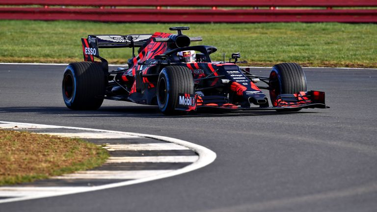 Max Verstappen driving the (33) Aston Martin Red Bull Racing RB15 during Filming Day at Silverstone