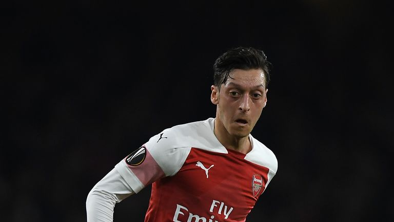 Mesut Ozil returned to action for Arsenal against BATE Borisov