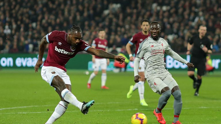 Michail Antonio scored West Ham's equaliser against Liverpool on Monday night