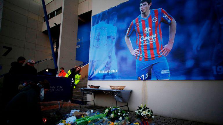 Tributes to Emiliano Sala outside Caen's stadium