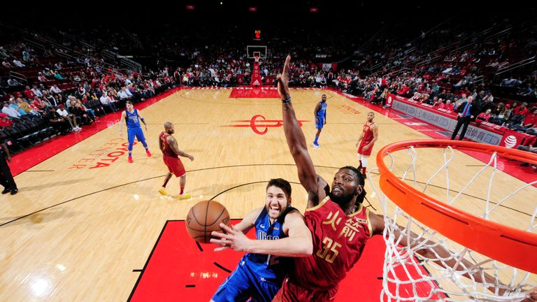 HOUSTON, TX - FEBRUARY 11: Maximilian Kleber #42 of the Dallas Mavericks attacks the basket during the game against the Houston Rockets on February 11, 2019 at the Toyota Center in Houston, Texas. NOTE TO USER: User expressly acknowledges and agrees that, by downloading and or using this photograph, User is consenting to the terms and conditions of the Getty Images License Agreement. Mandatory Copyright Notice: Copyright 2019 NBAE (Photo by Bill Baptist/NBAE via Getty Images)