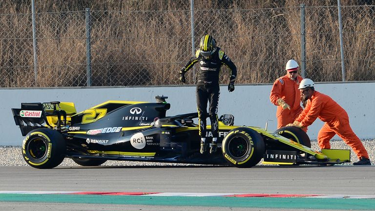 Nico Hulkenberg was fastest, but his day in the Renault ended early