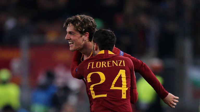 Nicolo Zaniolo celebrates with Alessandro Florenzi
