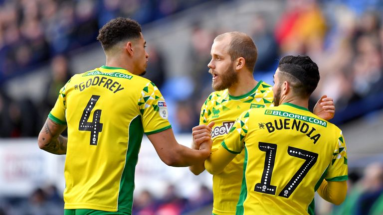 Teemu Pukki celebrates opening the scoring for Norwich at Bolton