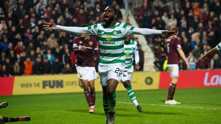 Odsonne Edouard celebrates his late goal for Celtic