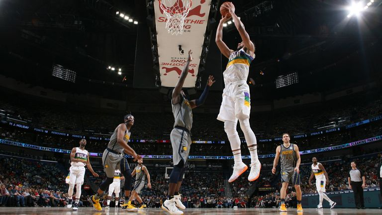 Jahlil Okafor of the New Orleans Pelicans shoots the ball against the Indiana Pacers