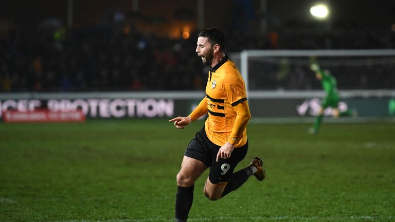 Padraig Amond scored the second for Newport against Middlesbrough