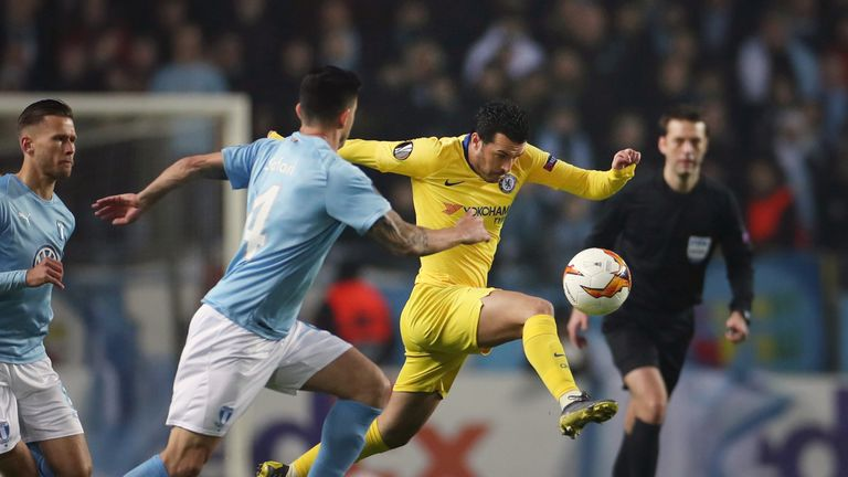 Pedro tries to control the ball during the Europa League last-32 first-leg tie
