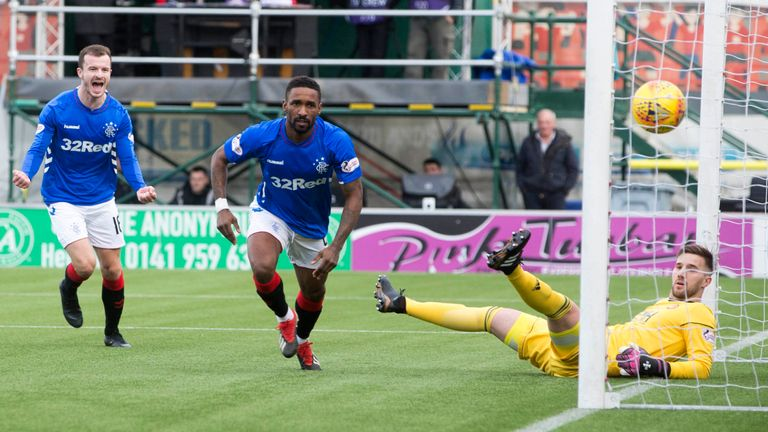 Rangers thrashed Hamilton 5-0 on Sunday, moving five points clear of Aberdeen