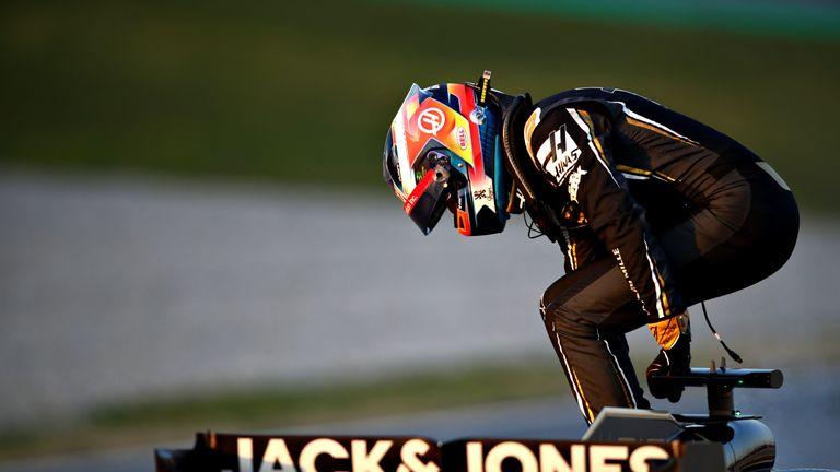 A familiar feeling for Romain Grosjean: Jumping out of his stricken Haas