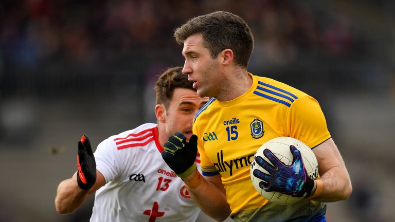Cathal Cregg of Roscommon in action against Darren McCurry of Tyrone