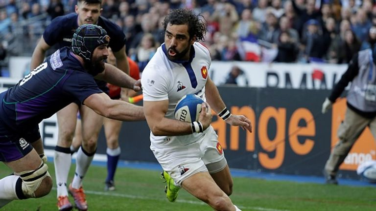 Yoann Huget runs in to score for France
