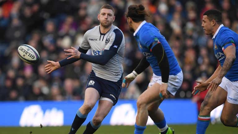 Scotland's Finn Russell delivers a no-look pass during his side's 2019 Six Nations victory over Italy at Murrayfield.