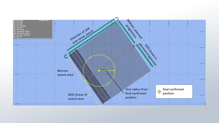 Image shows the search area for the missing aircraft (credit: AAIB)