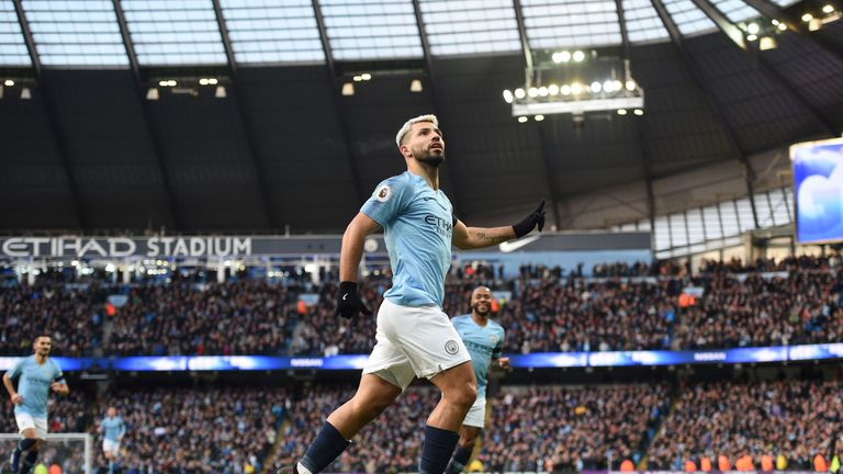 Sergio Aguero hit a hat-trick for Manchester City