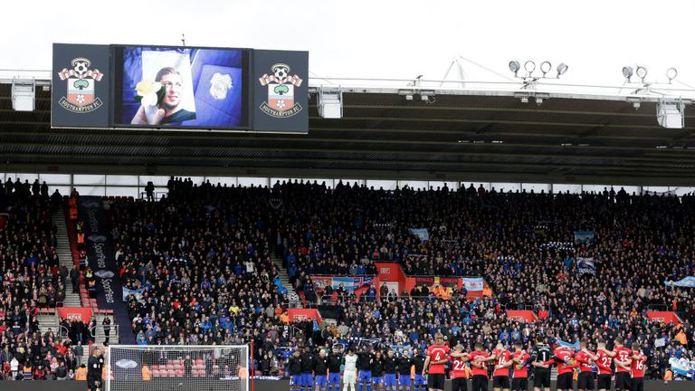 Southampton and Cardiff players observe a minute's silence