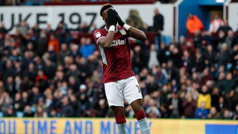 Tammy Abraham reacts to a missed chance