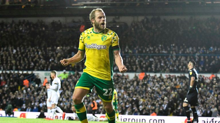 Teemu Pukki celebrates scoring Norwich's second goal of the game