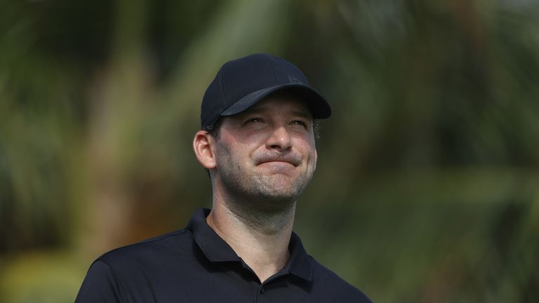 Former Dallas Cowboys quarterback Tony Romo celebrates wildly after pitching in for a superb eagle on day one of the AT&T Byron Nelson.