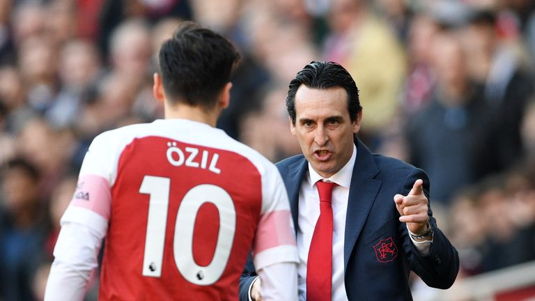 Unai Emery says he was happy with Ozil's cameo contribution during Sunday's win