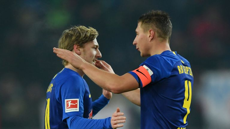 Will Orban (right) scored twice in the Leipzig victory