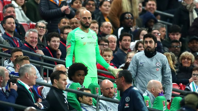 Caballero reacts as Kepa refuses to be substituted in the second half of extra-time