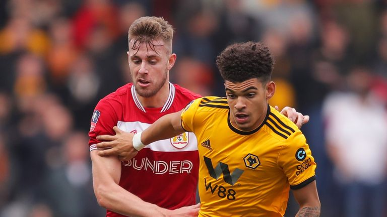 Morgan Gibbs-White (right) squandered a clear goalscoring opportunity