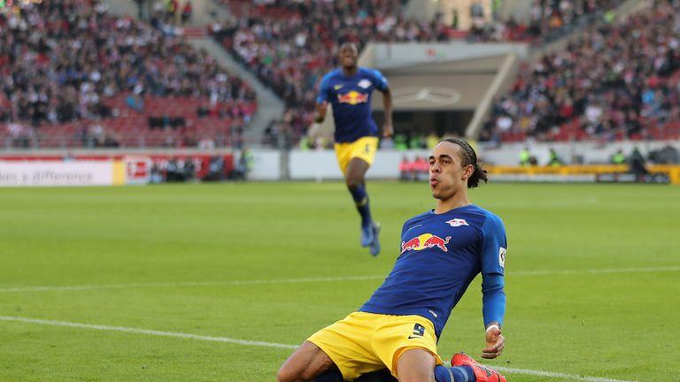 Yussuf Poulsen scored twice for RB Leipzig against Stuttgart