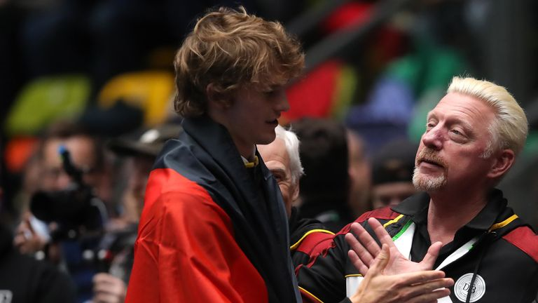 Germany's Boris Becker congratulates Alexander Zverev