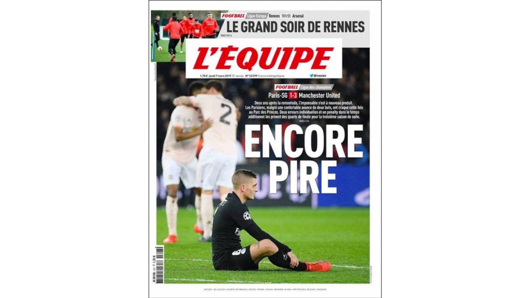 8eda45d71a PSG's 'unforgivable' Champions League exit: French press react   Football  News   Sky Sports