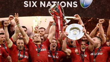 Wales captain Alun Wyn Jones and team mates celebrate with the Six Nations trophy