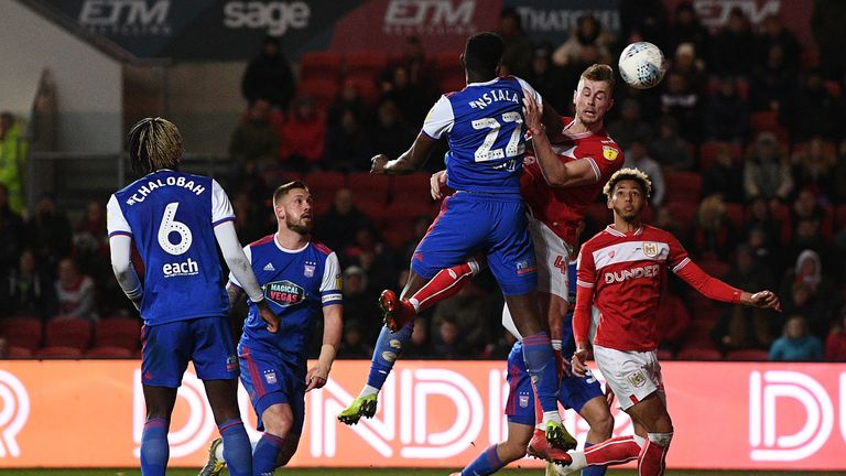 Adam Webster heads home the opener for Bristol City
