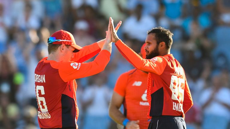 Adil Rashid conceded just 15 runs from his four overs in St Lucia