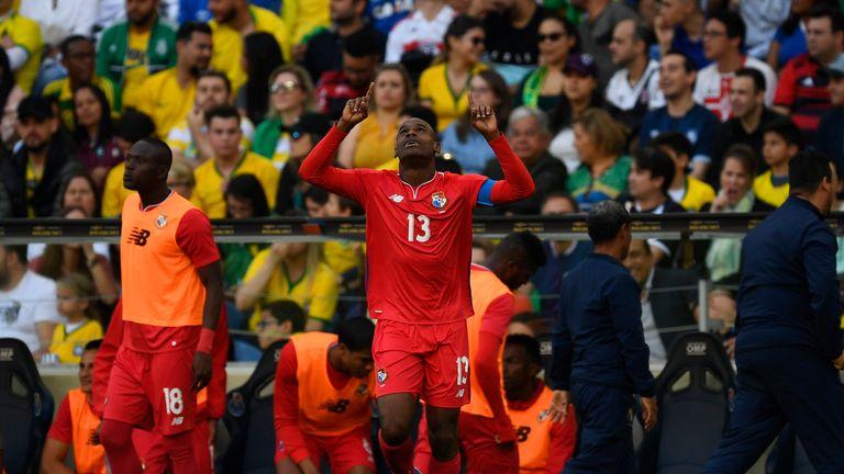 Adolfo Machado celebrates his equaliser for Panama