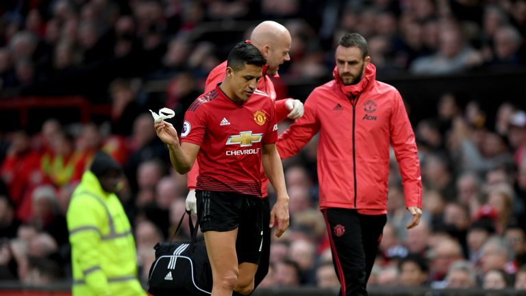 Sanchez leaves the Old Trafford pitch after being replaced