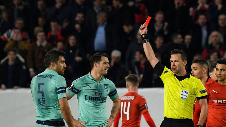 Sokratis was shown the 10th red card of his professional career in Arsenal's defeat at Rennes